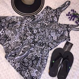 Maxine Paisley Empire Waist Cut SwimDress SwimSuit